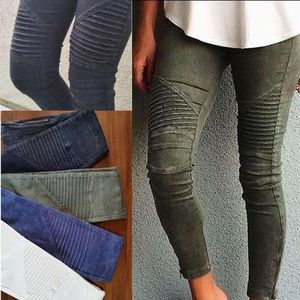 Moto Skinny Jeans Distressed Vintage Look Woman's